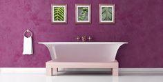Freshening up your Bathroom walls in The Easy Weekend Bathroom Remodel. Lavender Bathroom, Purple Bathrooms, Bathroom Wall Decor, Small Bathroom, Bathroom Ideas, Room Decor, Osaka, Bamboo Shelf, Purple Interior