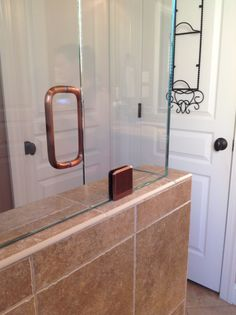 Solid antique brushed copper c-pull Shower Door Handles, Frameless Shower Doors, Copper, Antique, Design, Brass, Antiques, Old Stuff