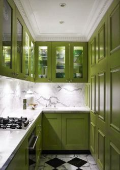 Tiny galley kitchen, green-painted cabinets and marble - Greg Natale