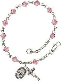 Sterling Silver Rosary Bracelet features 5mm Light Rose Swarovski Rundell-Shaped beads. The Crucifix measures 5/8 x 1/4. Each Rosary Bracelet is presented in a