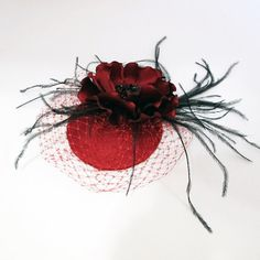Red Facinator Mini Hat Hair piece with flower by JerseyBride, $82.00