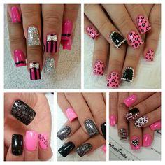 Various pink black silver glitter rhinestone nail designs