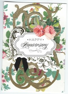 Anna Griffin white floral anniversary card