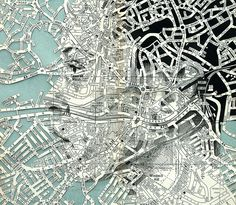 Mapped Face // Ed Fairburn on Graphic Mixed Media. Ed Fairburn has recently produced new works that live in a magical place between sculpture and drawings. Ed Fairburn, Maps Design, Design Ios, Portrait Art, Portraits, A Level Art, Arte Pop, Art Graphique, Vintage Maps
