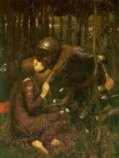 """""""La belle dam sans mercie"""" de John William Waterhouse. Un caballero relata al poeta su encuentro con un hada misteriosa, a la que subió a lomos de su caballo y acompañó hasta una gruta fabulosa, donde hicieron el amor incansablemente. Sin embargo, mientras duerme, el caballero tiene un sueño en el que reyes moribundos le advierten que """"la dama sin piedad lo ha esclavizado""""."""