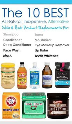 The 10 Best All Natural, Inexpensive, Skin & Hair Product Replacements for shampoo, conditioner, deep conditioner, face wash, mask, toner, moisturizer, eye makeup remover, lip balm, and teeth whitener (scheduled via http://www.tailwindapp.com?utm_source=pinterest&utm_medium=twpin&utm_content=post95423879&utm_campaign=scheduler_attribution)