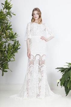 Unconventional two piece wedding dress, with Chantilly lace insertion top and lace skirt with a train. Divine Atelier, Two Piece Wedding Dress, Chantilly Lace, Bridal, Lace Skirt, Wedding Gowns, Bohemian, Photoshoot, Formal Dresses