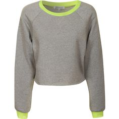 Grey Marl Cropped Sweater With Neon Yellow Trim featuring polyvore, fashion, clothing, tops, sweaters, grey, cotton sweaters, neon sweater, crop top, marled crop top and grey crop top