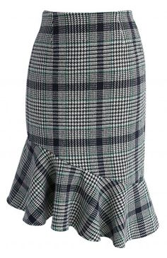 Asymmetry Tweed Frill Hem Pencil Skirt in Green - Bottoms - Retro, Indie and Unique Fashion