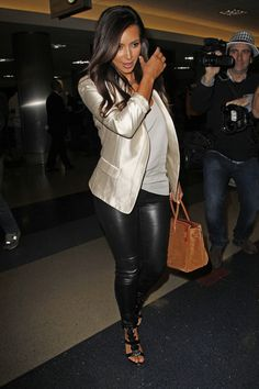 Kim Kardashian - Tight Leather Leggings & Cream Jacket