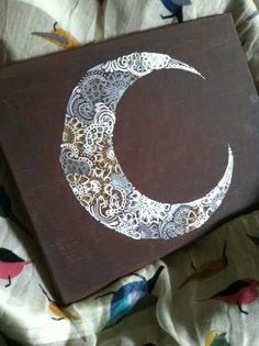 Crescent Moon - This canvas was painted with a crackle paint in chocolate brown & crescent shape painted with metalic paint pens.