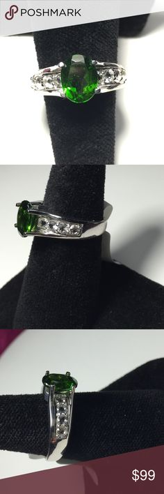 Chrome Diopside & White Topaz SS RingFINAL $ 1.82ct  Oval  Chrome Diopside &. .59ctw  Round White Topaz Accent Sterling Silver Ring. This Gemstone is softer use care when wearing. Thailand Treasures  Jewelry Rings