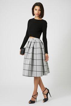 Grid Print Bonded Midi Skirt, £55 | Topshop