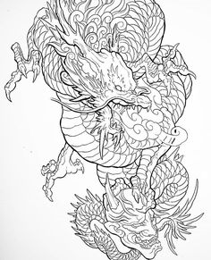 Japanese Dragon Tattoos, Japanese Tattoo Art, Japanese Tattoo Designs, Japan Tattoo Design, Sketch Tattoo Design, Tattoo Lettering Design, Dragon Oriental, Dragon Sleeve Tattoos, Dragon Tattoo Back