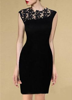 Lace Splicing Black Sheath Dress for Woman