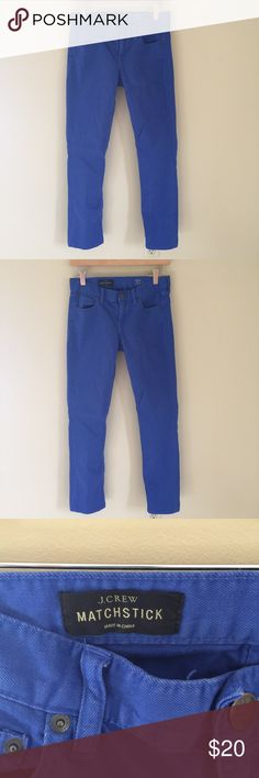 """J Crew Matchstick Pants J Crew Matchstick Denim Pants in blue. Please message me with any extra info needed, and please measure before purchasing! Thanks for stopping by!!  Waist: 28"""" Inseam: 30"""" Outseam: 38"""" Front rise: 8"""" Back rise: 13"""" J. Crew Pants Straight Leg"""