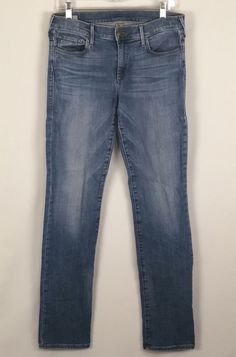 4ac26ef53 True Religion Cora Mid Rise Straight Jeans 30 Distressed Horseshoe Stretch  USA