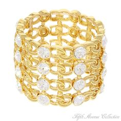 """This """"Sublime"""" slide-on bracelet finished in your choice of rich rhodium or gleaming gold was destined to be mounted with 32 blazing Swarovski crystals. It's been said that jewellery may not change the world, but the women who wear it will!"""