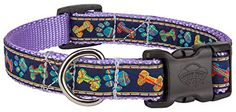 Country Brook Design Deluxe Plaid Bones And Paws Woven Ribbon on Lavender Dog Collar Limited Edition  Small * Learn more by visiting the image link.
