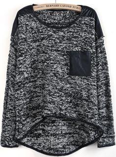 Grey Metallic Yoke Contrast Pocket Dipped Hem Sweater