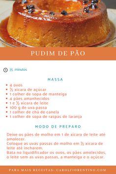 Uma boa forma de aproveitar os pães amanhecidos é resgatando o tradicional e delicioso pudim de pão! Para visualizar o modo do preparo é só clicar sobre a imagem!   #receita #dessert #cooking #foodblogger #pudim #pao #pudimdepao #cozinhafacil Pudding Recipes, Cake Recipes, Dessert Recipes, Portuguese Desserts, Portuguese Recipes, Flan, Mousse, Pan Dulce, Cooking Gadgets