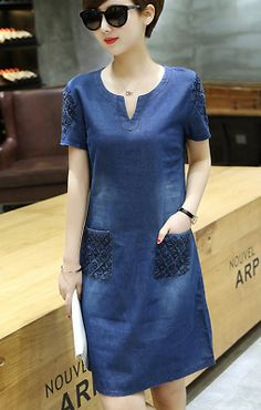 2018 New Women Causal Summer Denim Jean Dress Vogue A-line Short Sleeve Outwears Summer Work Dresses, Nice Dresses, Girls Dresses, Dresses To Hide Tummy, Batik Dress, Denim Fashion, Denim Jeans, Cool Outfits, Fashion Dresses