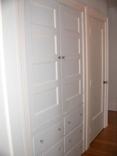 built in Linen Closet - change out the door with this.