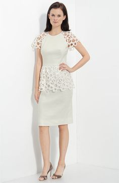 Cute for a small courthouse wedding.    Lela Rose Circle Lace Trim Dress    Nordstrom.com