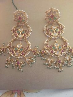 Indian Jewellery Designs - Page 5 of 1784 - Latest Indian Jewellery Designs 2020 ~ 22 Carat Gold Jewellery one gram gold Indian Jewelry Earrings, Jewelry Design Earrings, Gold Earrings Designs, India Jewelry, Antique Earrings, Beaded Jewelry, Gold Jewelry, Pakistani Jewelry, Indian Wedding Jewelry