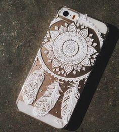 BOHEMIAN GYPSY WHITE HENNA DREAM CATCHER IPHONE 4 4S CLEAR PHONE CASE