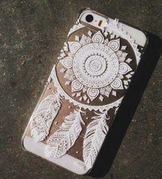 BOHEMIAN GYPSY WHITE HENNA DREAM CATCHER IPHONE 4 4S CLEAR PHONE CASE