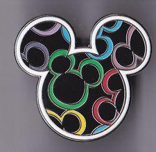 Disney Pin Mickey Mouse Head Icon Multi Color Colored Ears