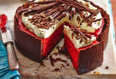 This is one impressive cheesecake! Red velvet cupcake fans will be drooling over this bright red cheesecake and its base made of Choc Ripple biscuits.
