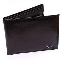 3c3c51aca815 Personalised Monogram Monogrammed Quality Gents Black Leather Wallet  Embossed Free!  Amazon.co.uk  Kitchen   Home