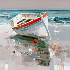 """Sweet Escape"" painting by Josef Kote Nautical Painting, Boat Painting, Nautical Art, Painting Flowers, Seascape Paintings, Watercolor Paintings, Pinterest Pinturas, Boat Art, Abstract Canvas Art"