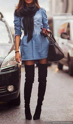 fall street fashion - denim dress and thigh high black suede boots