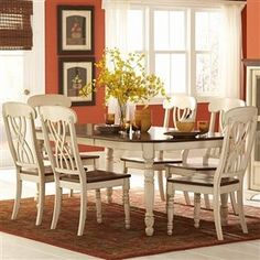 7-Piece Buttercream White Finish Dining Table & Chairs Set