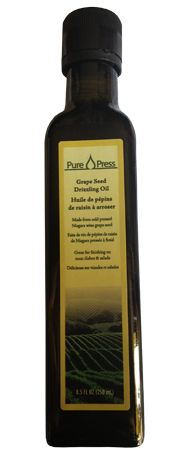 Grape seed oil provides a number of positive health effects on the inside and outside.  Pure Press' oil is produced in the Niagara region of Ontario (Port Robinson) so it is 100% Canadian!