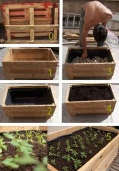 °° Do yourself your flower boxes °°: °° lejardindeclaire °° I like the recycled pallet, pond liner and river rock! Garden Boxes, Garden Planters, Tree Garden, Balcony Garden, Diy Pallet Projects, Garden Projects, Raised Garden Beds, Raised Beds, Potager Palettes