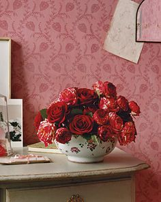 Valentine's Day Flowers (white-and-pink 'Henri Matisse' roses with red roses) Martha Stewart