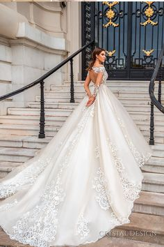 Crystal Design 2017 bridal long sleeves off the shoulder deep sweetheart neckline heavily embellished bodice elegant princess a line wedding dress keyhole back royal train (ellery) bv #wedding #bridal #weddingdress
