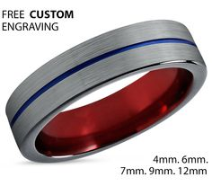 Tungsten Ring Mens Blue Black Red Wedding Band Tungsten Ring Tungsten Carbide 6mm  Mans Wedding Band Male Women Anniversary Matching by BellyssaJewelry on Etsy
