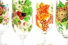 Hand Painted Glass Spring Cherries and by ColoredGlassByOlia, $75.00