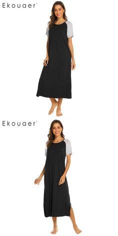 Long nightgown sleepshirts women casual patchwork round neck short sleeve  nightdress nightwear home lounge night dress 76e7e7307