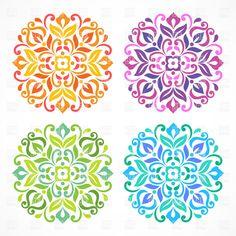 Simple Mandala Design Set of simple colorful floral