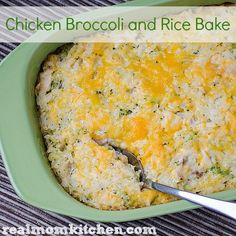 Good basic recipe. Makes a lot (I used fresh broccoli and more than called for). Chicken Broccoli and Rice Bake