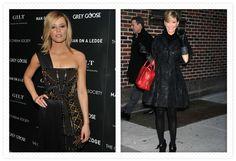 LEFT: Versace dress RIGHT: Dress: Roberto Cavallli, Coat: Andrew Gn