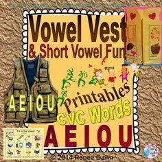 """No-Prep printables for CVC words and short vowels, including super-cute Vowel Vest craft project--which doubles as a dollhouse!  For learning centers, morning work, early finishers, or homework. Open on a Smartboard for No-Prep phonics lessons, with """"I can"""" Learning Target and CCSS on every page."""