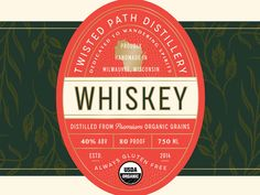 Twisted Path Distillery Label Design designed by Zac Jacobson. Connect with them on Dribbble; Ticket Design, Label Design, Saint Charles, San Luis Obispo, Show And Tell, Distillery, Wisconsin, Paths, Alcohol
