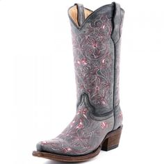 $108.00 Corral Girl�s Youth Boots Distressed Black with Pink Floral EmbroideryCorral designed style A1027 with preteens and teenagers in mind. The sizing scale starts at a Youth size 2 and goes to a Youth size 5. So you can save a little bit of dough before transitioning into the Ladies Corrals. The distressed black leather really makes the pink floral embroidery pop! These boots can easily be worn to c...